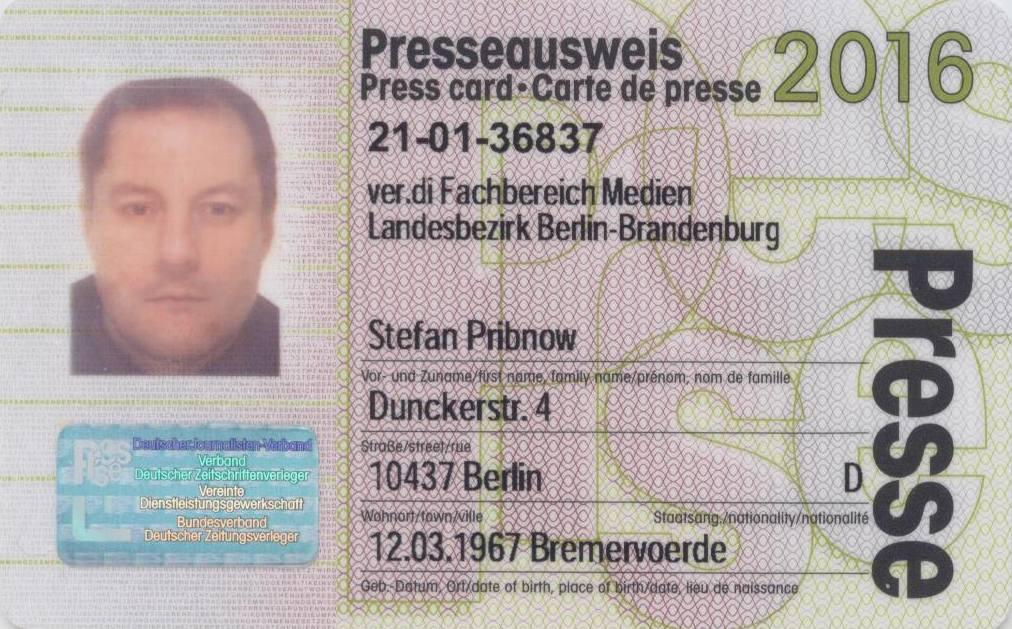 Presseausweis (Vorderseite) Stefan Pribnow 2016 © Münzenberg Medien