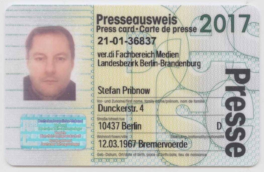 Presseausweis 2017 für Stefan Pribnow © 2016 Münzenberg Medien, Foto: Stefan Pribnow