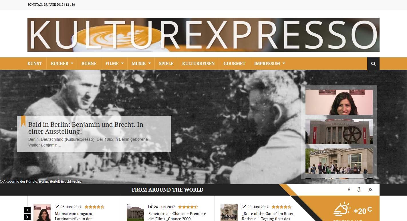 """Screenshot des Webmagazins """"Kulturexpresso"""" vom 25. Juni 2017. © 2016 Münzenberg Medien, Foto: Stefan Pribnow"""