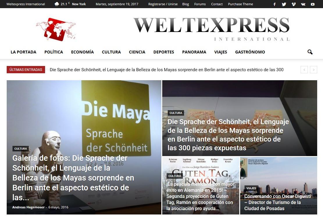 Screenshot der spanischsprachigen Ausgabe des WELTEXPRESS.