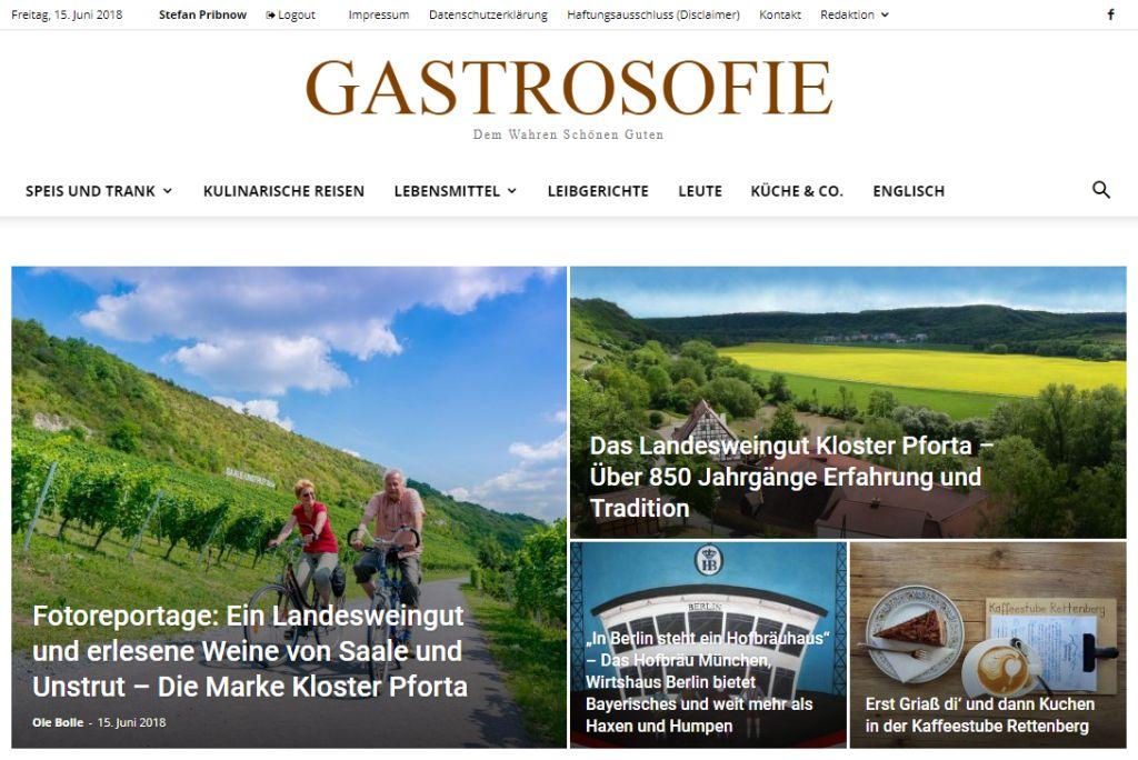Ein Blick auf die Startseite des Magazins GASTROSOFIE am 15. Juni 2018.